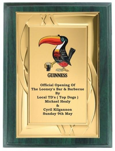 Green Wood/Gold Metal Plaque