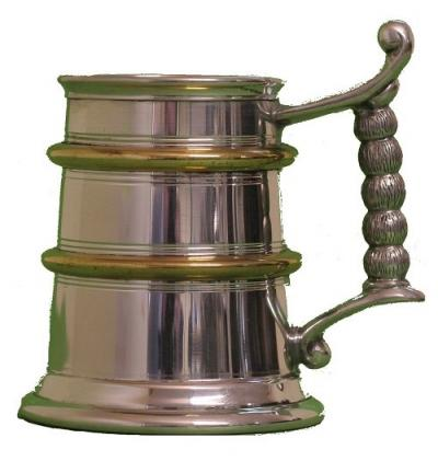 Pewter Tankard With Gold Band