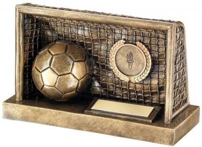 Bronze/Gold Football In Goals Trophy