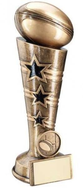 Bronze/Gold 3 Star Rugby Column Trophy