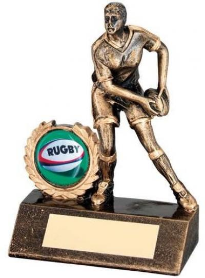 Bronze/Gold Resin Mini Female Rugby Trophy