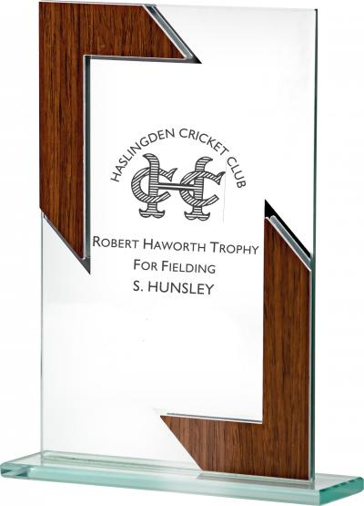 Glass Plaque with Wood Effect Border