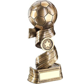Bronze/Gold Football On Swirled Ribbon Trophy