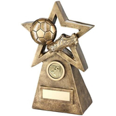 Bronze/Gold Football Boot On Star And Pyramid Trophy