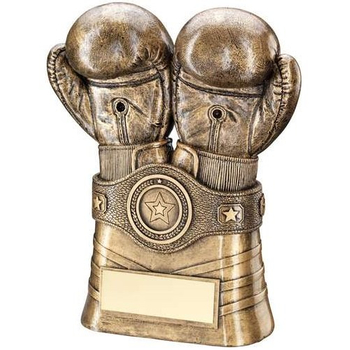 Bronze/Gold Boxing Gloves And Belt Trophy