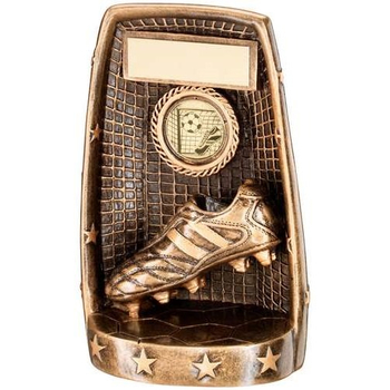 Bronze/Gold Football Boot And Net Trophy