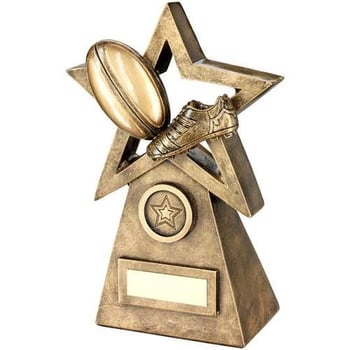 Bronze/Gold Rugby Ball/Boot On Star And Pyramid Trophy