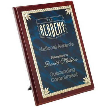 Rosewood Plaque With Blue|Gold Aluminium Front