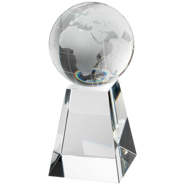 Clear/Frosted Glass Football On Base Award