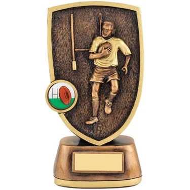 Rugby Player with Ball Trophie